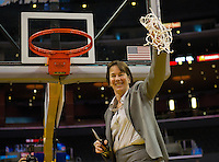 LOS ANGELES, CA - March 10, 2012: Head Coach Tara VanDerveer of the Stanford University woman's basketball team competes against Cal during the PAC 12 Woman's Basketball Championship Game at the Staples Center in Los Angeles California. Final score Stanford won 77-62.