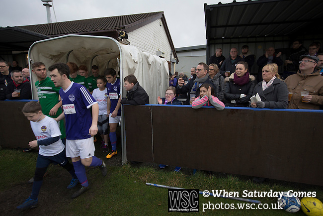 City of Liverpool 6 Holker Old Boys 1, 10/12/2016. Delta Taxis Stadium, North West Counties League Division One. The teams emerging from the dressing rooms at the Delta Taxis Stadium, Bootle, Merseyside before City of Liverpool hosted Holker Old Boys in a North West Counties League division one match. Founded in 2015, and aiming to be the premier non-League club in Liverpool, City were admitted to the League at the start of the 2016-17 season and were using Bootle FC's ground for home matches. A 6-1 victory over their visitors took 'the Purps' to the top of the division, in a match watched by 483 spectators. Photo by Colin McPherson.