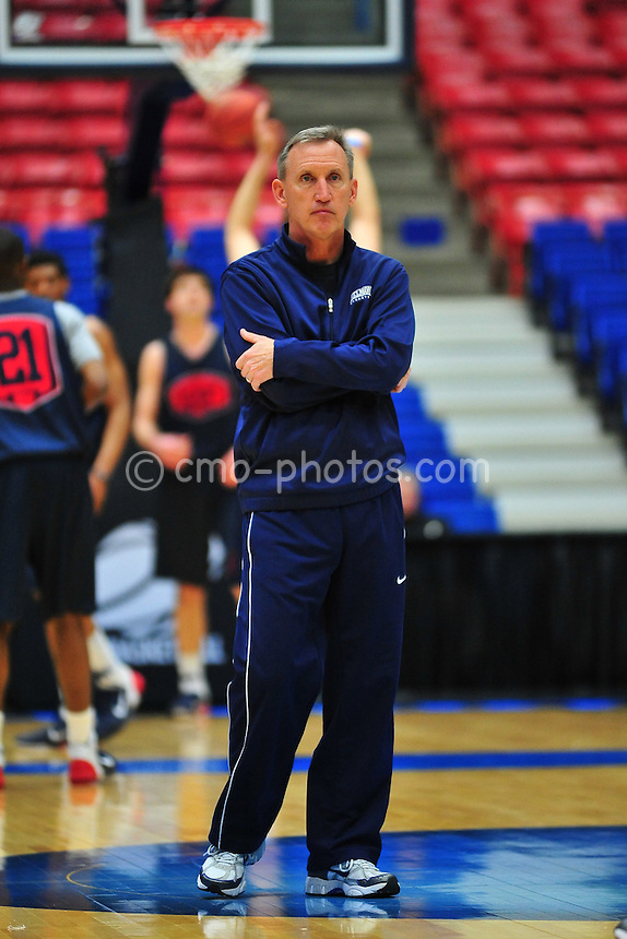 Mar 16, 2011; Tucson, AZ, USA; Belmont Bruins head coach Rick Byrd during a practice the day before the second round of the 2011 NCAA men's basketball tournament at the McKale Center.