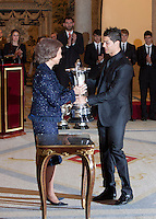 Cristiano Ronaldo and Queen Sofia of Spain attend the National Sports Awards ceremony at El Pardo Palace. December 05, 2012. (ALTERPHOTOS/Caro Marin) NortePhoto