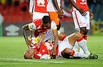 Independiente Santa Fe goleó 3-0 a Cortuluá en el duelo de ida de los cuartos de final de la Copa Colombia, jugado en el estadio Nemesio Camacho El Campín, de Bogotá.