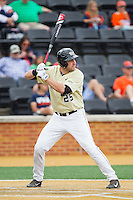 Evan Stephens (5) of the Wake Forest Demon Deacons at bat against the Virginia Cavaliers at Wake Forest Baseball Park on May 17, 2014 in Winston-Salem, North Carolina.  The Demon Deacons defeated the Cavaliers 4-3.  (Brian Westerholt/Four Seam Images)