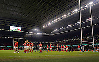 Wales players thank home supporters after the RBS 6 Nations Championship rugby game between Wales and Scotland at the Principality Stadium, Cardiff, Wales, UK Saturday 13 February 2016