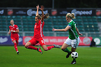 Kayleigh Green of Wales vies for possession with Julie Nelson of Northern Ireland during the UEFA Womens Euro Qualifier match between Wales and Northern Ireland at Rodney Parade in Newport, Wales, UK. Tuesday 03, September 2019