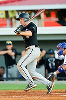 Bradley Salgado #5 of the Bristol White Sox follows through on his swing against the Burlington Royals at Burlington Athletic Park on July 10, 2011 in Burlington, North Carolina.  The White Sox defeated the Royals 4-3.   (Brian Westerholt / Four Seam Images)