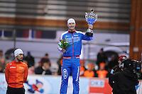 SCHAATSEN: ERFURT: Gunda Niemann Stirnemann Eishalle, 21-03-2015, ISU World Cup Final 2014/2015, Final Podium 1000m Men, Kjeld Nuis (NED), Pavel Kulizhnikov (RUS), ©foto Martin de Jong