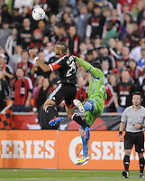 D.C. United forward Maicon Santos (29) heads the ball. D.C. United tied the Seattle Sounders, 0-0 at RFK Stadium, Saturday April 7, 2012.