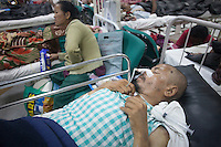 Victims of earthquake under treatment in a hospital of Kathmandu, Nepal.  A 7.3 magnitude earthquake killed at least 37 people and spread panic in Nepal on Tuesday, bringing down buildings already weakened by a devastating tremor less than three weeks ago and unleashing landslides in Himalayan valleys near Mount Everest. Kathmandu, Nepal. May 12, 2015