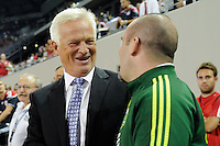 New York Red Bulls head coach Hans Backe shakes hands with Portland Timbers head coach John Spencer before the game. The New York Red Bulls defeated the Portland Timbers 2-0 during a Major League Soccer (MLS) match at Red Bull Arena in Harrison, NJ, on September 24, 2011.