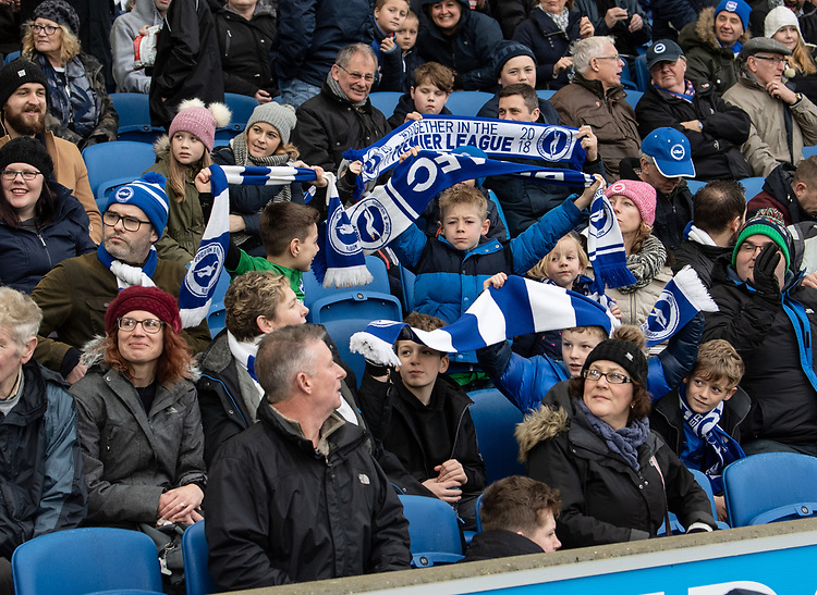 Brighton fans <br /> <br /> Photographer David Horton/CameraSport<br /> <br /> Emirates FA Cup Fourth Round - Brighton and Hove Albion v West Bromwich Albion - Saturday 26th January 2019 - The Amex Stadium - Brighton<br />  <br /> World Copyright © 2019 CameraSport. All rights reserved. 43 Linden Ave. Countesthorpe. Leicester. England. LE8 5PG - Tel: +44 (0) 116 277 4147 - admin@camerasport.com - www.camerasport.com