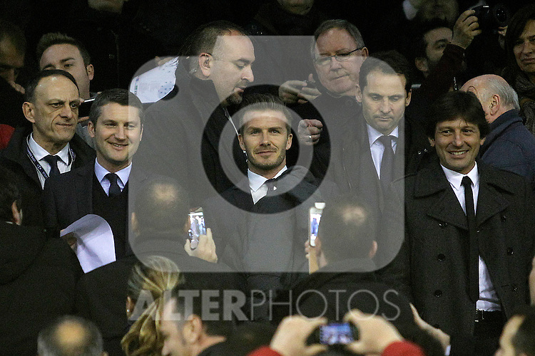 Paris Saint-Germain's David Beckham during Champions League 2012/2013 match.February 12,2013. (ALTERPHOTOS/Acero)