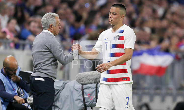 Lyon, France - Saturday June 09, 2018: Dave Sarachan, Bobby Wood during an international friendly match between the men's national teams of the United States (USA) and France (FRA) at Groupama Stadium.
