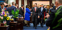 TALLAHASSEE, FLA. 1/12/16-Senate President Andy Gardiner, R-Orlando, center, and Sen. Bill Galvano, R-Bradenton, enter the House chamber prior to the State of the State address during the opening day of the 2016 legislative session at the Capitol in Tallahassee. After a number of contentious issues between the two chambers in 2015, House members did not exactly rush to the aisle to greet their legislative neighbors at the start of the 2016 session.<br />