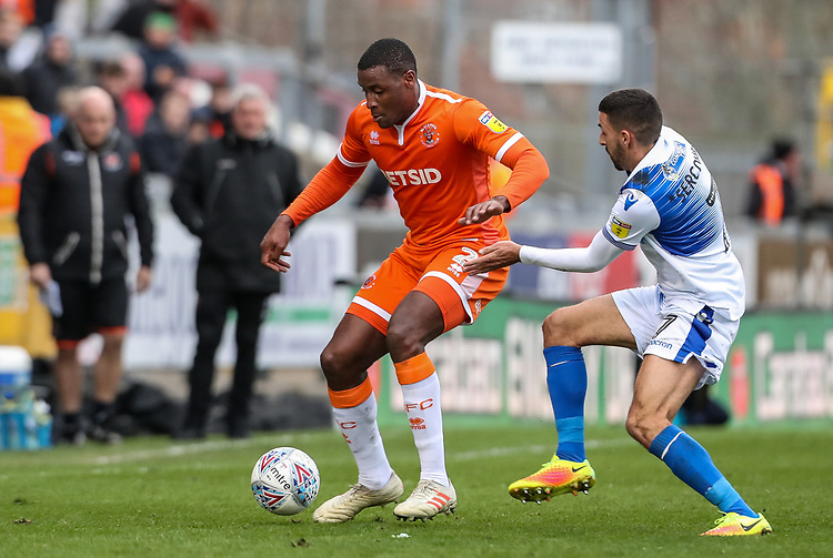 Blackpool's Donervon Daniels competing with Bristol Rovers' Liam Sercombe <br /> <br /> Photographer Andrew Kearns/CameraSport<br /> <br /> The EFL Sky Bet League Two - Bristol Rovers v Blackpool - Saturday 2nd March 2019 - Memorial Stadium - Bristol<br /> <br /> World Copyright © 2019 CameraSport. All rights reserved. 43 Linden Ave. Countesthorpe. Leicester. England. LE8 5PG - Tel: +44 (0) 116 277 4147 - admin@camerasport.com - www.camerasport.com