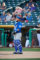 Johnny Monell (21) of the Las Vegas 51s on defense against the Salt Lake Bees at Smith's Ballpark on May 7, 2018 in Salt Lake City, Utah. The 51s defeated the Bees 10-8. (Stephen Smith/Four Seam Images)