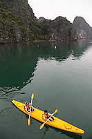 Kayaking has become a popular water sport where the paddler faces forward, legs in front, using a double bladed paddle.  Most kayaks have closed decks though each design has its advantages with regards to performance, stability, manoeuvrability and paddling style.