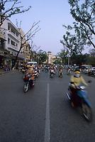 Dodging traffic like the locals, Hanoi, Vietnam