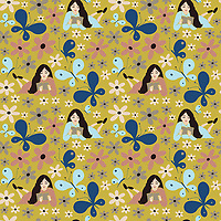 """The Happy Place"" is a hand illustrated scalable vector surface pattern collection - with the theme of creative, thinking beautiful souls of women and their love for nature.<br />