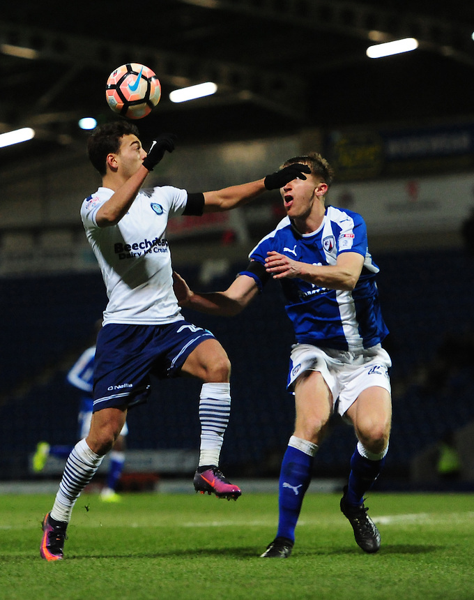Wycombe Wanderers' Scott Kashket vies for possession with Chesterfield's Tom Anderson<br /> <br /> Photographer Chris Vaughan/CameraSport<br /> <br /> The Emirates FA Cup Second Round - Chesterfield v Wycombe Wanderers - Saturday 3rd December 2016 - Proact Stadium - Chesterfield<br />  <br /> World Copyright &copy; 2016 CameraSport. All rights reserved. 43 Linden Ave. Countesthorpe. Leicester. England. LE8 5PG - Tel: +44 (0) 116 277 4147 - admin@camerasport.com - www.camerasport.com