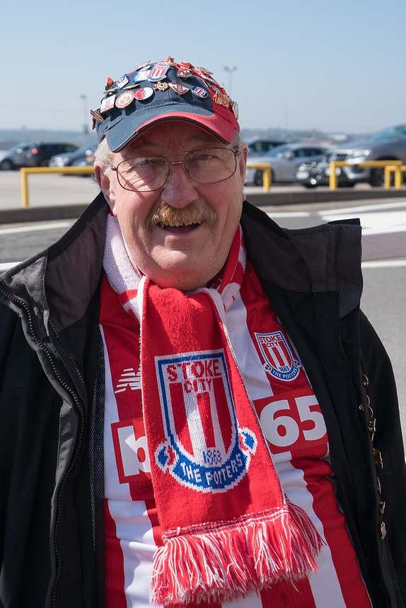 A fan at the Britannia Stadium, home of Stoke City<br /> <br /> Photographer Terry Donnelly/CameraSport<br /> <br /> The Premier League - Stoke City v Liverpool - Saturday 8th April 2017 - bet365 Stadium - Stoke-on-Trent<br /> <br /> World Copyright &copy; 2017 CameraSport. All rights reserved. 43 Linden Ave. Countesthorpe. Leicester. England. LE8 5PG - Tel: +44 (0) 116 277 4147 - admin@camerasport.com - www.camerasport.com