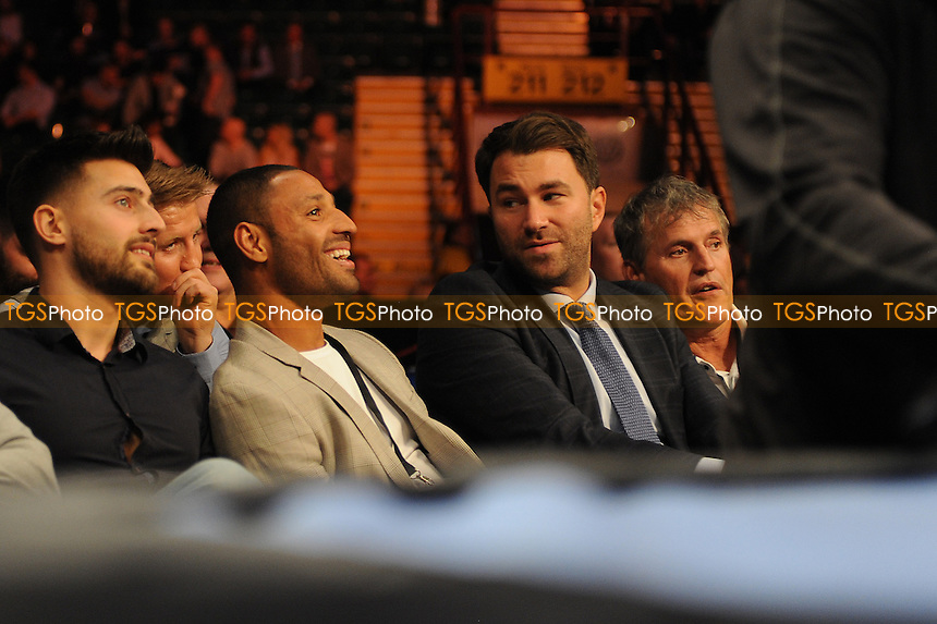 Eddie Hearn and Kell Brook share a joke at ringside - Boxing at the Metro Radio Arena, Newcastle, promoted by Matchroom Sports - 04/04/15 - MANDATORY CREDIT: Steven White/TGSPHOTO - Self billing applies where appropriate - contact@tgsphoto.co.uk - NO UNPAID USE