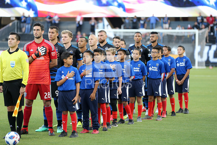 San Jose, CA - Saturday August 25, 2018: San Jose Earthquakes  prior to a Major League Soccer (MLS) match between the San Jose Earthquakes and Vancouver Whitecaps FC at Avaya Stadium.