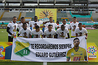 NEIVA  -COLOMBIA, 9-05-2017. Homenaje póstumo a Eduard Gutiérrez Castillo jugador del Atlético Huila fallecido en un accidente de tránsito.  encuentro  por la fecha 17 de la Liga Aguila I 2017  disputado en el estadio Guillermo Plazas Alcid ./ Posture moment to Eduard Gutierrez Castillo Atletico Huila player killed in a traffic accident during match for the date 17 of the Aguila League I 2017 played at Guillermo Plazas Alcid  stadium . Photo:VizzorImage / Sergio Reyes / Contribuidor