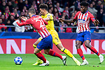 Atletico de Madrid Lucas Hernandez and Borussia Dortmund Jadon Sancho during group stage of UEFA Champions League match between Atletico de Madrid and Borussia Dortmund at Wanda Metropolitano in Madrid, Spain.November 06, 2018. (ALTERPHOTOS/Borja B.Hojas)