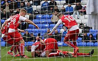 Fleetwood Town's Ashley Eastham is mobbed after scoring his sides second goal <br /> <br /> Photographer David Shipman/CameraSport<br /> <br /> The EFL Sky Bet League One - Peterborough United v Fleetwood Town - Friday 14th April 2016 - ABAX Stadium  - Peterborough<br /> <br /> World Copyright &copy; 2017 CameraSport. All rights reserved. 43 Linden Ave. Countesthorpe. Leicester. England. LE8 5PG - Tel: +44 (0) 116 277 4147 - admin@camerasport.com - www.camerasport.com