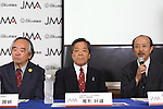 (L-R) Kuniaki Yagihara, Yoshio Ogata, Kenshichiro Morishita, <br /> AUGUST 3, 2016 - Sports Climbing :<br /> Japan Mountaineering Association holds a press conference<br /> after it was decided that the sport of <br /> Sports Climbing would be added to the Tokyo 2020 Summer Olympic Games<br /> on August 3rd, 2016 in Tokyo, Japan.<br /> (Photo by AFLO SPORT)