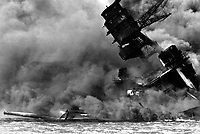 The USS ARIZONA burning after the Japanese attack on Pearl Harbor. December 7, 1941.  (Navy)<br /> NARA FILE #:  080-G-32420<br /> WAR &amp; CONFLICT BOOK #:  1136