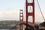 The Golden Gate Bridge as seen from the Vista Point Overlook area in San Francisco, California.