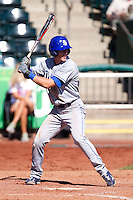 Tyler Wampler (1) of the Indiana State Sycamores at bat during a game against the Evansville Purple Aces in the 2012 Missouri Valley Conference Championship Tournament at Hammons Field on May 23, 2012 in Springfield, Missouri. (David Welker/Four Seam Images)