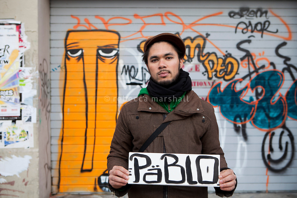 Pablo, a volunteer street art guide with the Marseille Provence Greeters, poses for the photographer in the Cours Julien district of Marseille, France, 04 February 2013