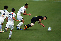 Ben Harris goes down after contact from Cam Howieson during the Oceania Football Championship final (second leg) football match between Team Wellington and Auckland City FC at David Farrington Park in Wellington, New Zealand on Sunday, 7 May 2017. Photo: Mike Moran / lintottphoto.co.nz