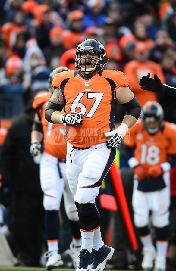 Jan 12, 2013; Denver, CO, USA; Denver Broncos center Dan Koppen (67) against the Baltimore Ravens during the AFC divisional round playoff game at Sports Authority Field.  Mandatory Credit: Mark J. Rebilas-