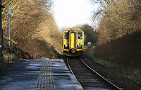 The Arriva Trains Wales service to Swansea stops at Sugar Loaf railway station, the most remote station on the Heart of Wales Line, situated by the A483 road, Powys, Wales, UK. Friday 01 December 2017