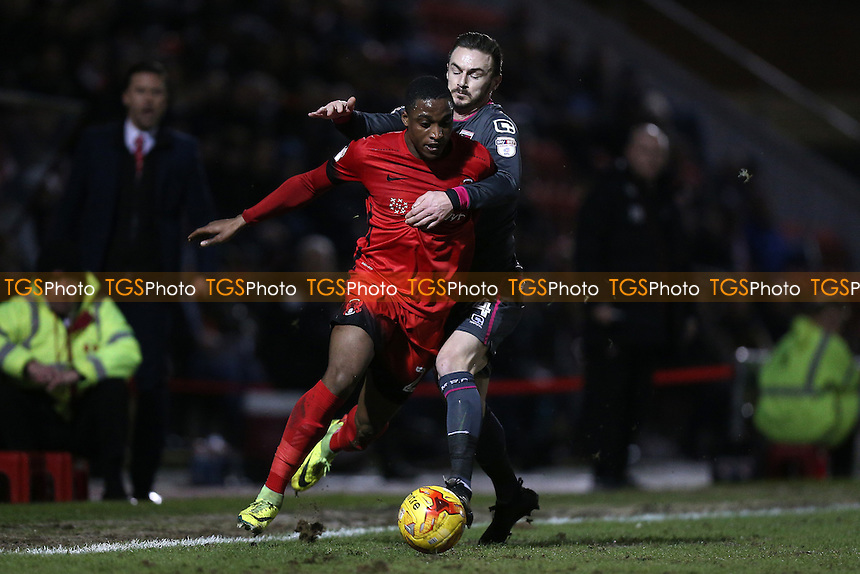 Victor Adeboyejo of Leyton Orient tangles with Michael Rose of Morecambe during Leyton Orient vs Morecambe, Sky Bet EFL League 2 Football at the Matchroom Stadium on 7th February 2017