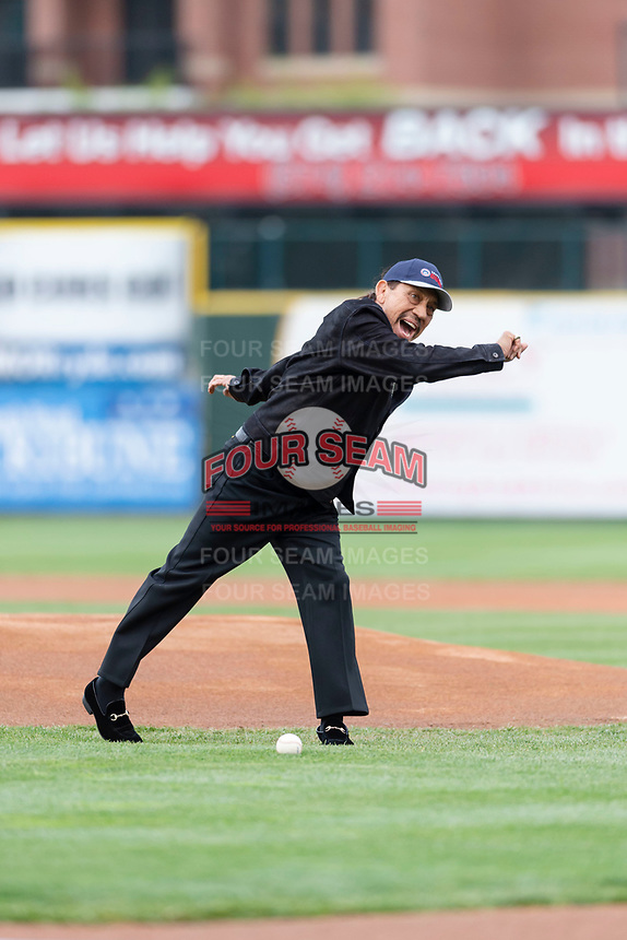 Actor Danny Trejo throws out the first pitch before a Midwest League game between the South Bend Cubs and the Cedar Rapids Kernels at Four Winds Field on May 7, 2019 in South Bend, Indiana. (Zachary Lucy/Four Seam Images)