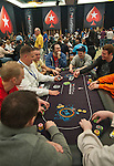 A view of a poker table during play on Day 1A.