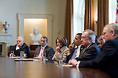 United States President Barack Obama meets with bipartisan leaders of the House and Senate, including from left, House Majority Leader Steny Hoyer (Democrat of Maryland), House Republican Leader John A. Boehner (Republican of Ohio), Speaker of the House Nancy Pelosi (Democrat of California), Senate Majority Leader Harry Reid (Democrat of Nevada),  and Senate Republican Leader Mitch McConnell (Republican of Kentucky) to discuss working together on issues surrounding the economy and jobs in the Cabinet Room of the White House, Feb. 10, 2010. .Mandatory Credit: Pete Souza - White House via CNP