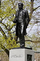 Toronto (ON) CANADA,  April , 2008-.Statue of Mowat (Premier of Ontario 1872-1896) in Queens Park...urban park in the Downtown area of Toronto. Opened in 1860 by Edward, Prince of Wales, it was named in honour of Queen Victoria. The park is the site of the Ontario Legislature, which houses the Legislative Assembly of Ontario, and so the phrase Queen's Park is also frequently used to refer to the Government of Ontario....