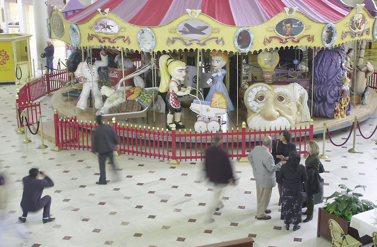 "RC20000317-400-RR: March 16, 2000: A ""Memory-Go-Round"" is on display in Union Station now thru April 13.  The carousel celebrates ""100 years of ups and downs.""  This must see was created by The School of Visual Arts in NYC..     Rebecca Roth/Roll Call."