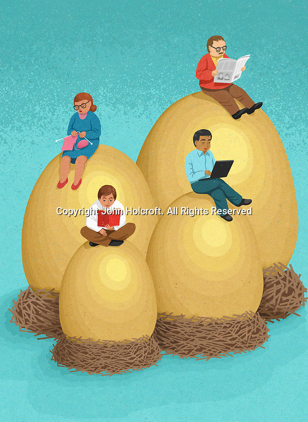 People sitting on their nest eggs