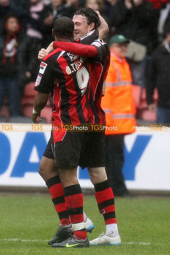 Scott Malone celebrates after scoring bournemouth opening goal - AFC Bournemouth vs Huddersfield Town - nPower League One Football at Dean Court - 09/04/12 - MANDATORY CREDIT: Chris Royle/TGSPHOTO - Self billing applies where appropriate - 0845 094 6026 - contact@tgsphoto.co.uk - NO UNPAID USE..