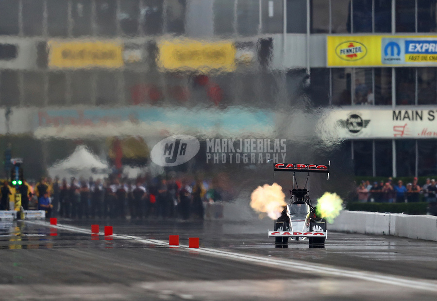 Apr 13, 2019; Baytown, TX, USA; NHRA top fuel driver Billy Torrence during qualifying for the Springnationals at Houston Raceway Park. Mandatory Credit: Mark J. Rebilas-USA TODAY Sports
