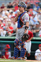 March 20, 2010:  Catcher Chris Coste (3) of the New York Mets during a Spring Training game at Roger Dean Stadium in Jupiter, FL.  Photo By Mike Janes/Four Seam Images