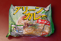 A packet of instant ramen from Thailand at Sakura instant ramen restaurant in Tokyo. .
