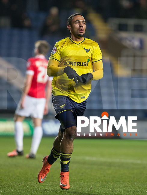 Kemar Roofe of Oxford United celebrates scoring a goal to make it 1 0 during the Sky Bet League 2 match between Oxford United and Dagenham and Redbridge at the Kassam Stadium, Oxford, England on 15 March 2016. Photo by Andy Rowland.