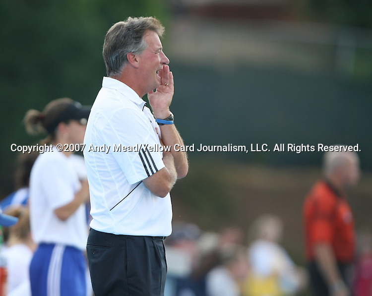 07 September 2007: Duke head coach Robbie Church. The Duke University Blue Devils defeated the Yale University Bulldogs 1-0 at Fetzer Field in Chapel Hill, North Carolina in an NCAA Division I Women's Soccer game, and part of the annual Nike Carolina Classic tournament.